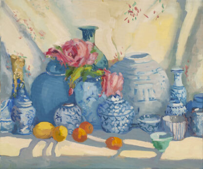 China Pots with Flowers from the Garden by Erin Lee Gafill