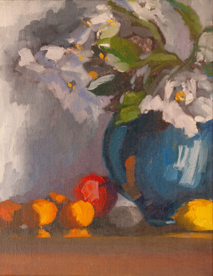 White Roses, Cobalt Jar, Lemons and an Apple by Erin Lee Gafill