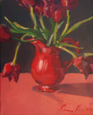 Tulips in the Red Pitcher