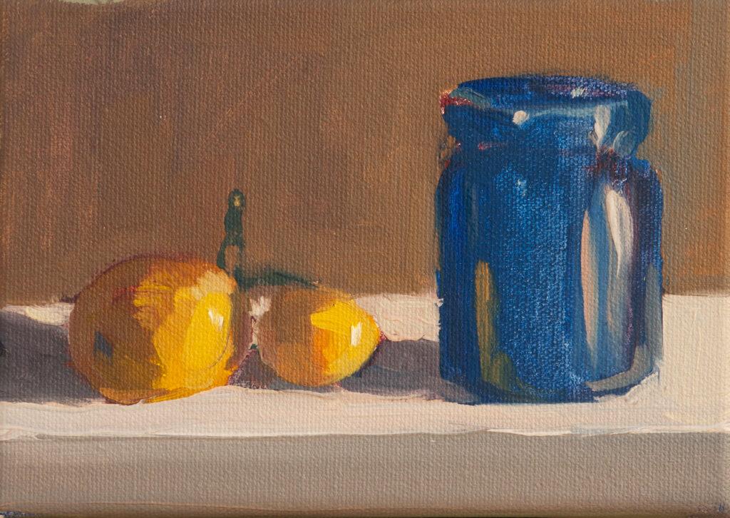 Cobalt Jar, Two Lemons by Erin Lee Gafill