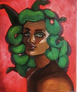 """Medusa"" 9x 12 acrylic painting on canvas"