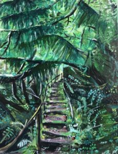 Untitled. 9x 12 acrylic on canvas green jungle with stairs