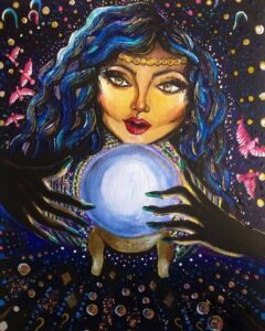 """Glimpse into the Future"" 9x 12 inch acrylic painting on canvas fortune teller"