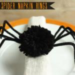 DIY Fuzzy Spider Napkin Rings