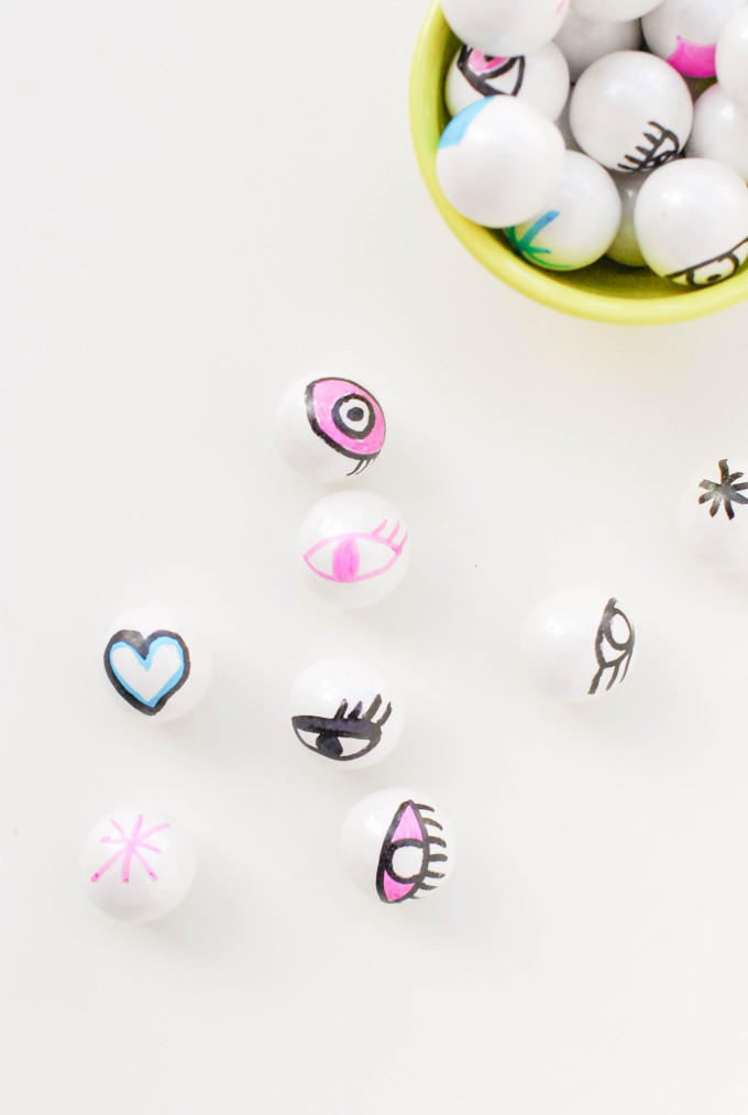 printable valentines with DIY eyeball gumballs