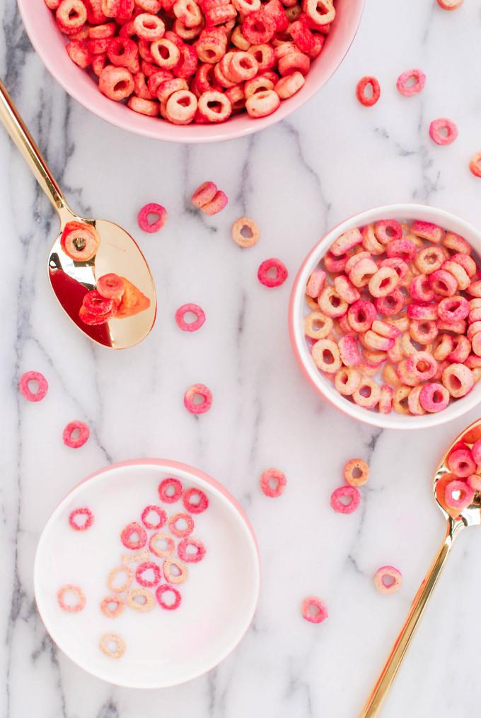 DIY Pink & Red Tinted Cheerios