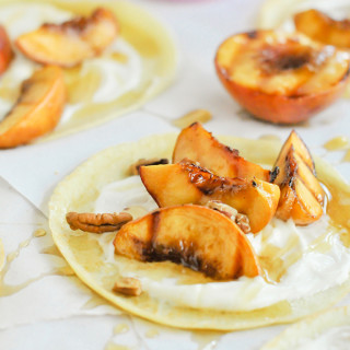 Crepes with Brown Sugar Grilled Peaches & Maple Cream