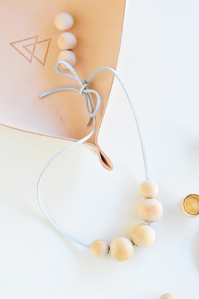 DIY wood bead necklace