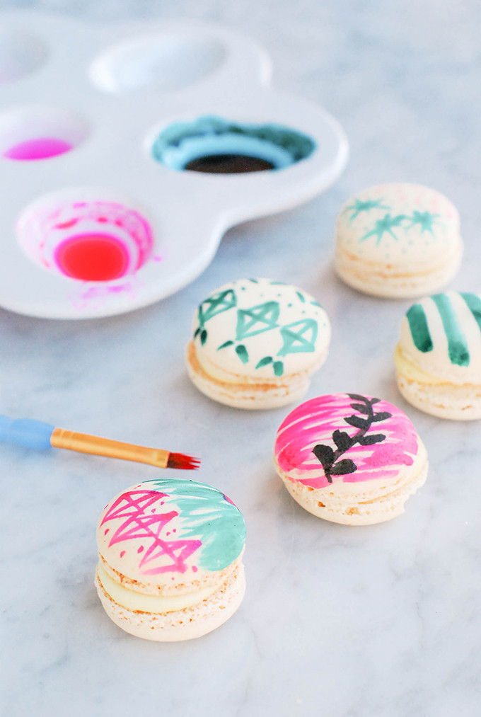 vintage ornament-inspired painted macarons by @theproperblog