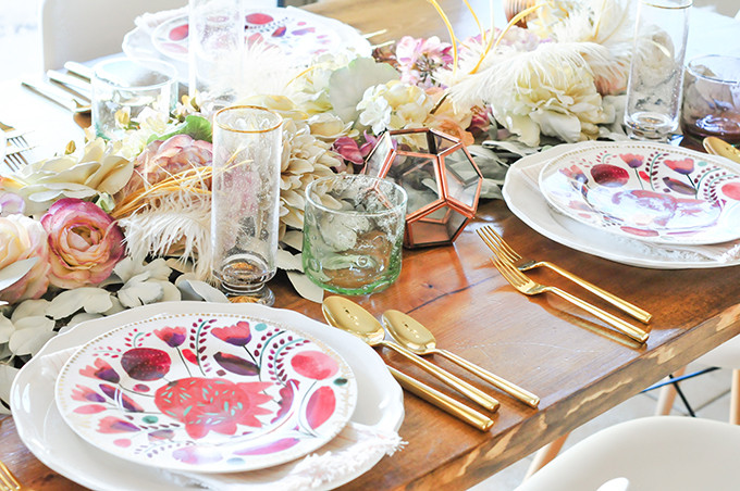 DIY Faux Floral Tablerunner For Thanksgiving