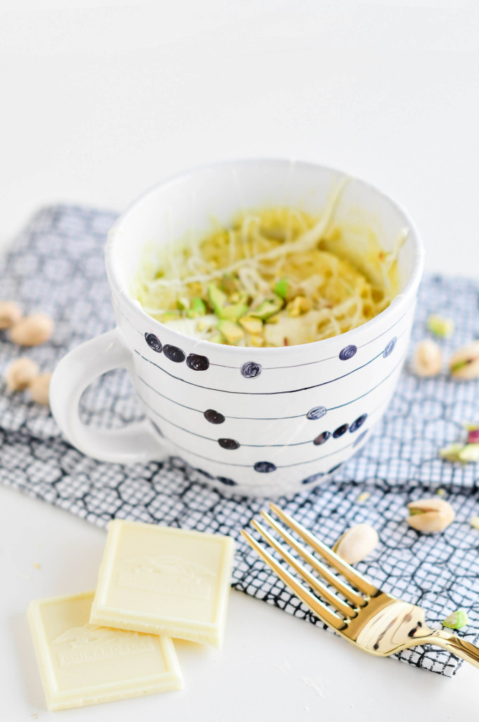 White Chocolate & Pistachio Mug Cake