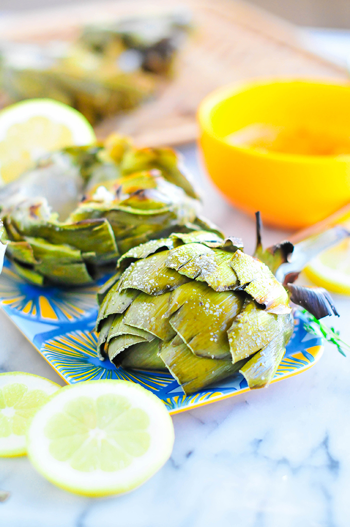 Grilled Artichokes with Lemon Garlic Butter | www.theproperblog.com
