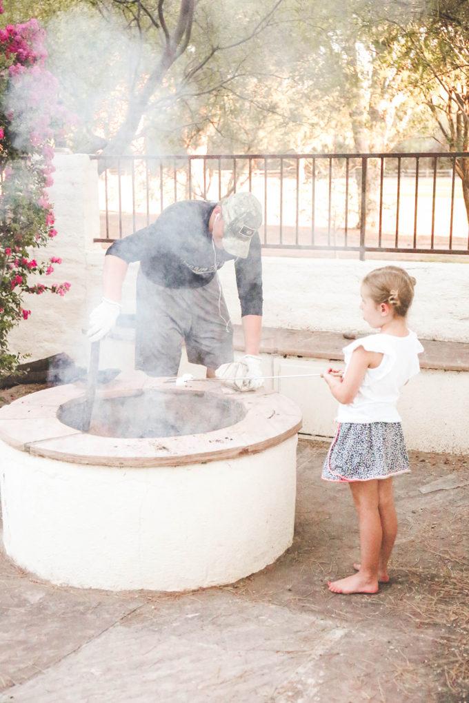 family roasting marshmallows
