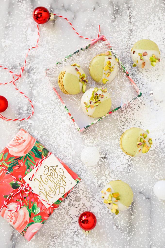 pistachio macarons on a christmas scene
