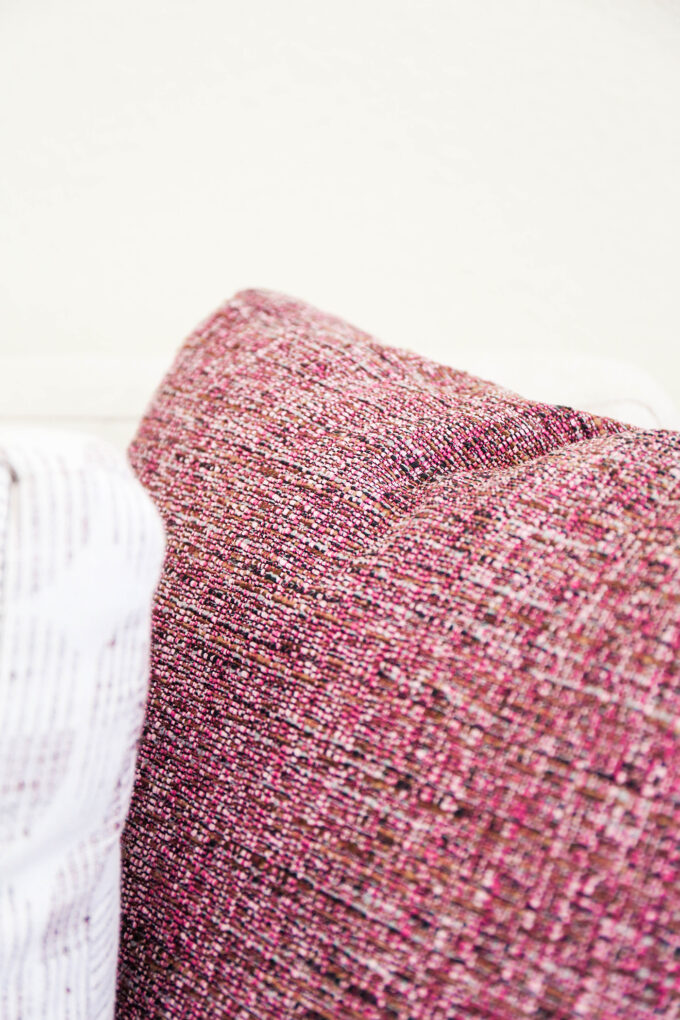 close up of sofa pillow texture