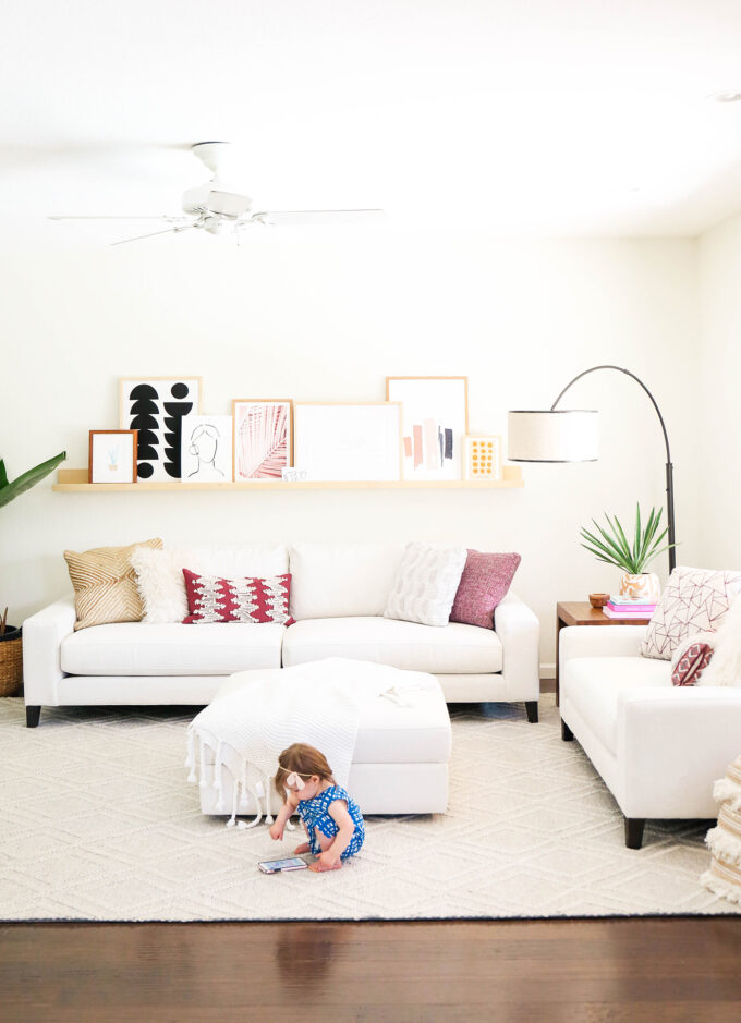 baby playing in modern living room