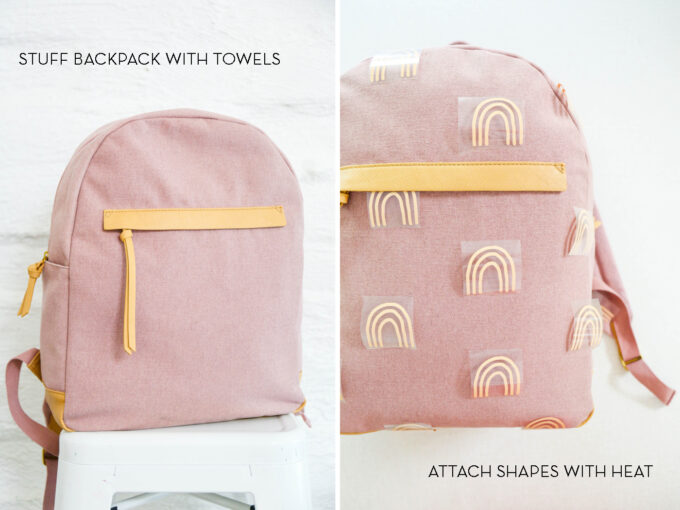 adding vinyl cutouts to backpack
