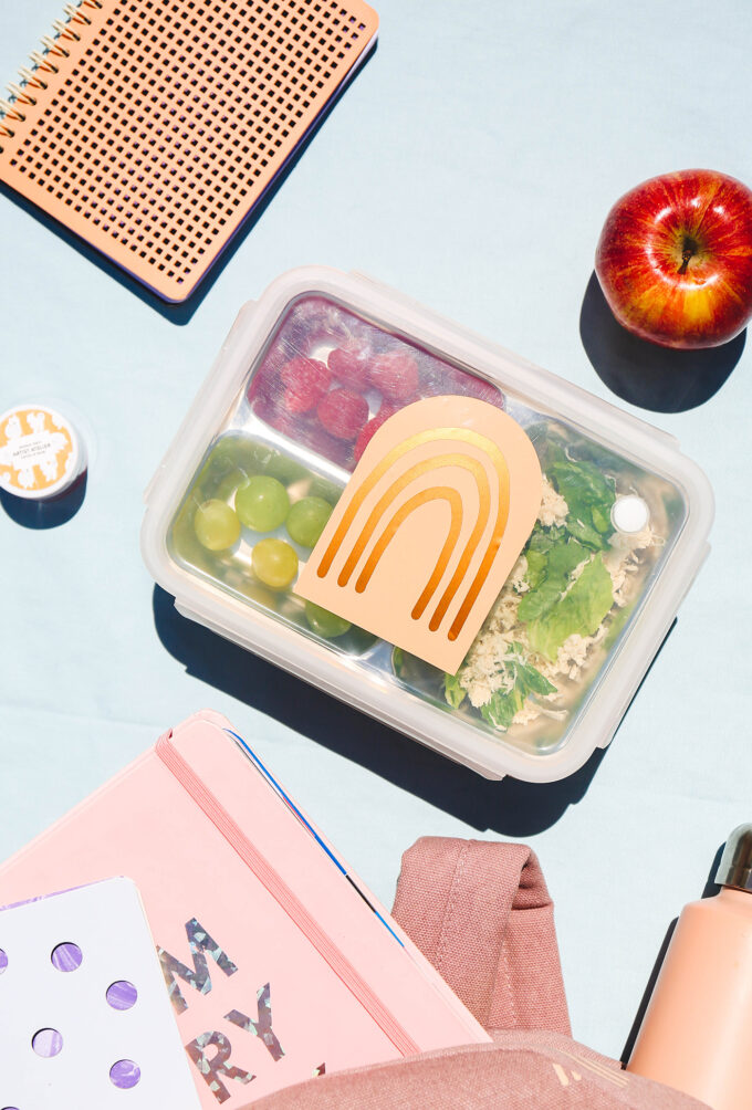 lunch box with boho rainbow