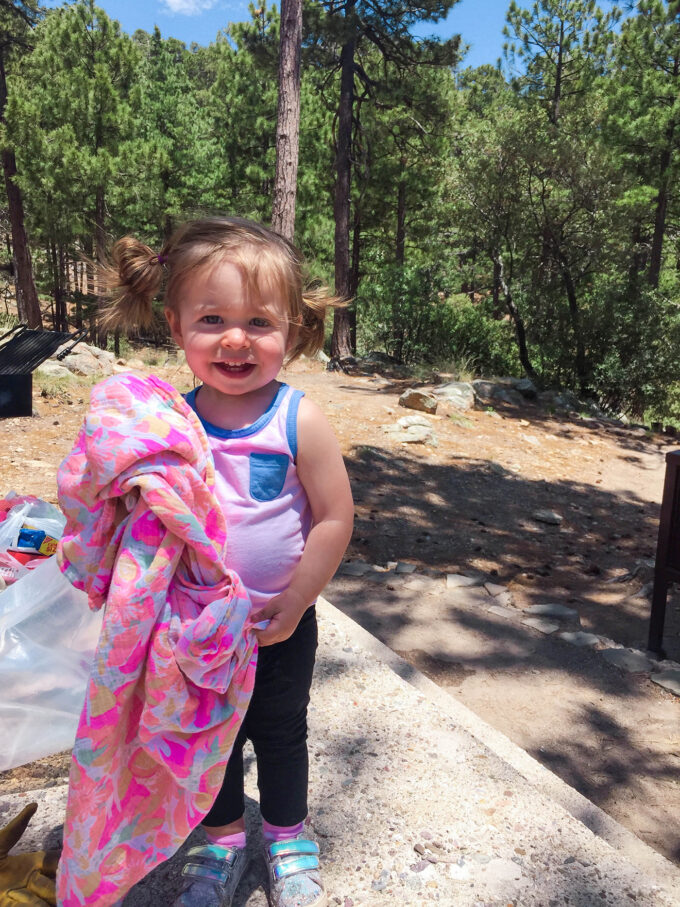 toddler posing while camping