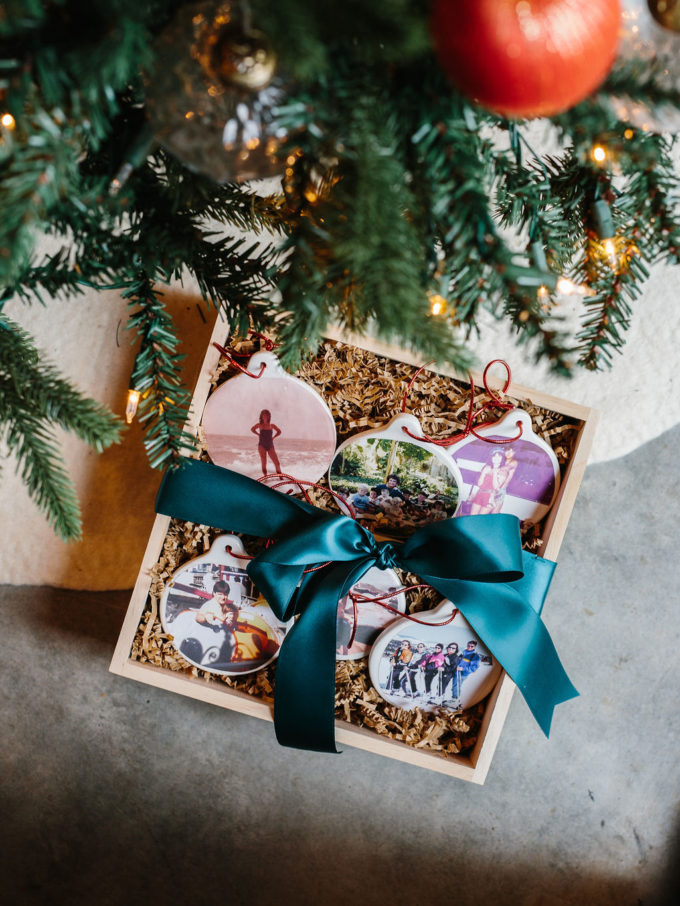 personalized photo ornaments under tree