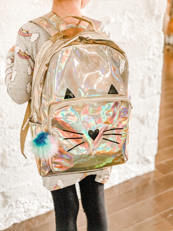 holographic backpack with DIY cat face