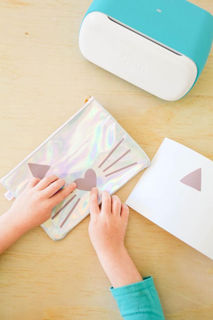Cricut Joy creating kid pencil pouch