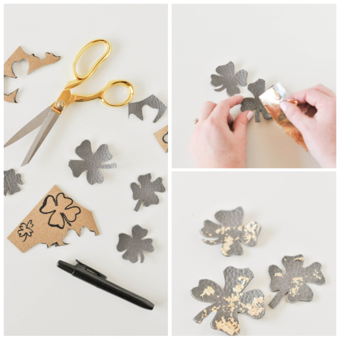 step-by-step instructions for making leather shamrock magnets