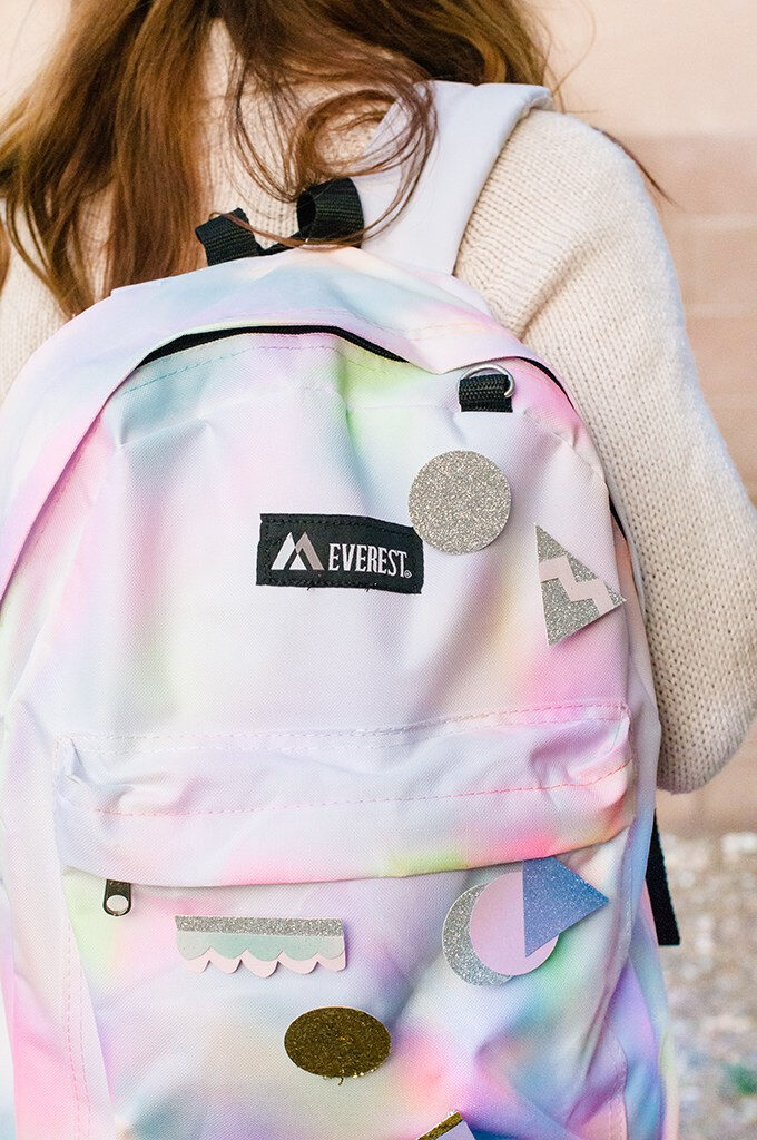 closeup of rainbow backpack