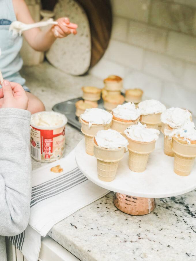 Funfetti Cupcake Cones - little frosting cupcakes