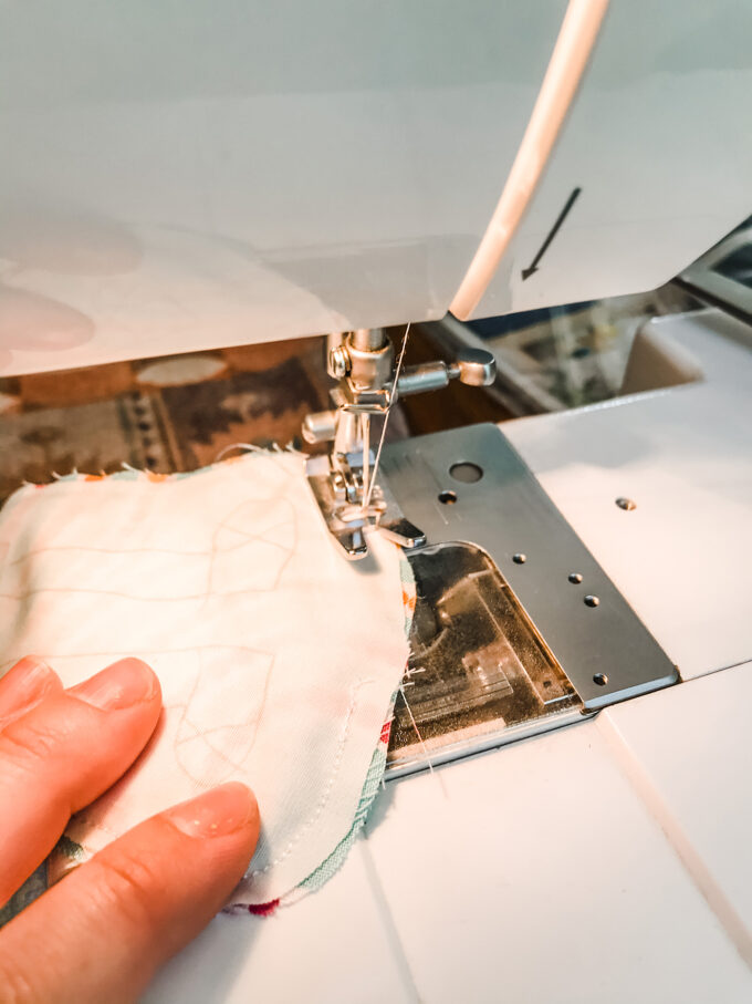 sewing fabric together on sewing machine