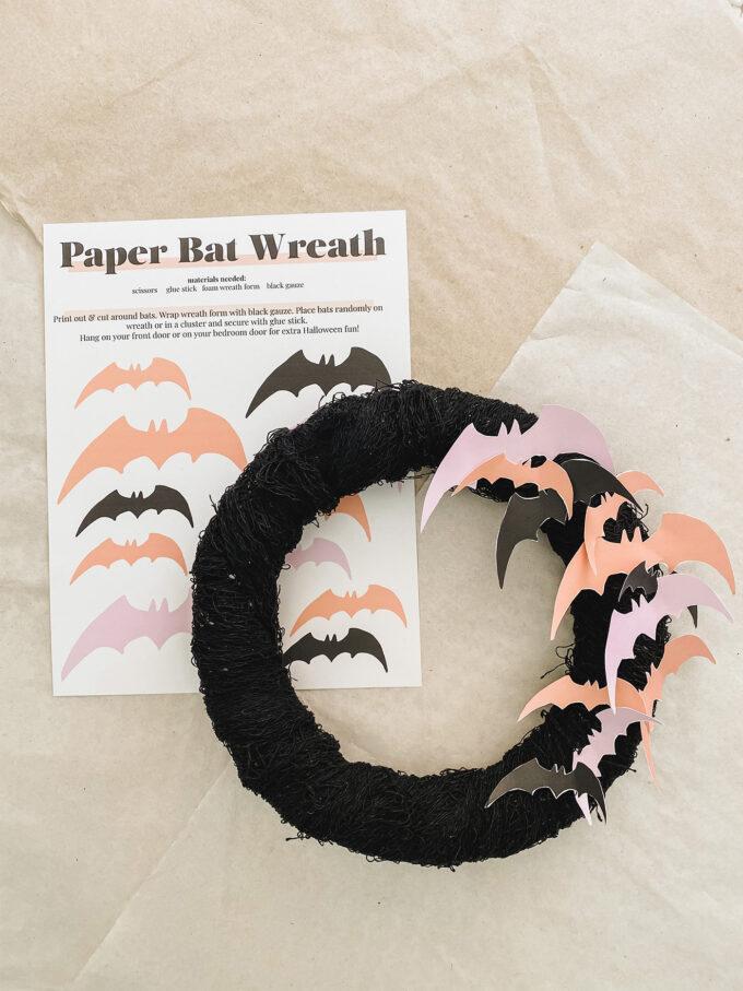 Printable paper bat wreath on flatlay