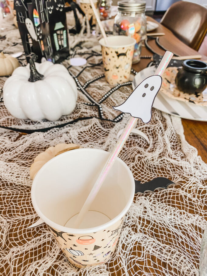 printable spooky straw ghost in cup for halloween