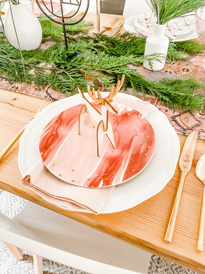 Modern Woodland Holiday Tablescape
