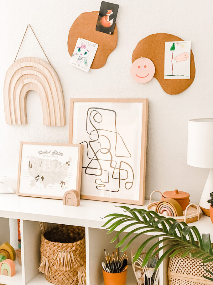 DIY Cork Board Wall Decor For Modern Kids Playroom