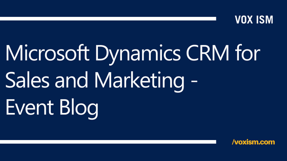 Microsoft Dynamics CRM for Sales and Marketing - Event Blog