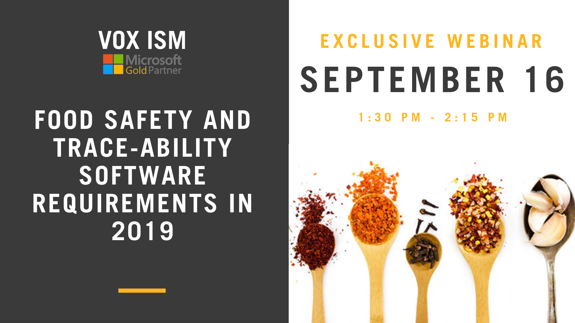 Food Safety and Trace-ability software requirements in 2019 - September 16 - Webinar - VOX ISM