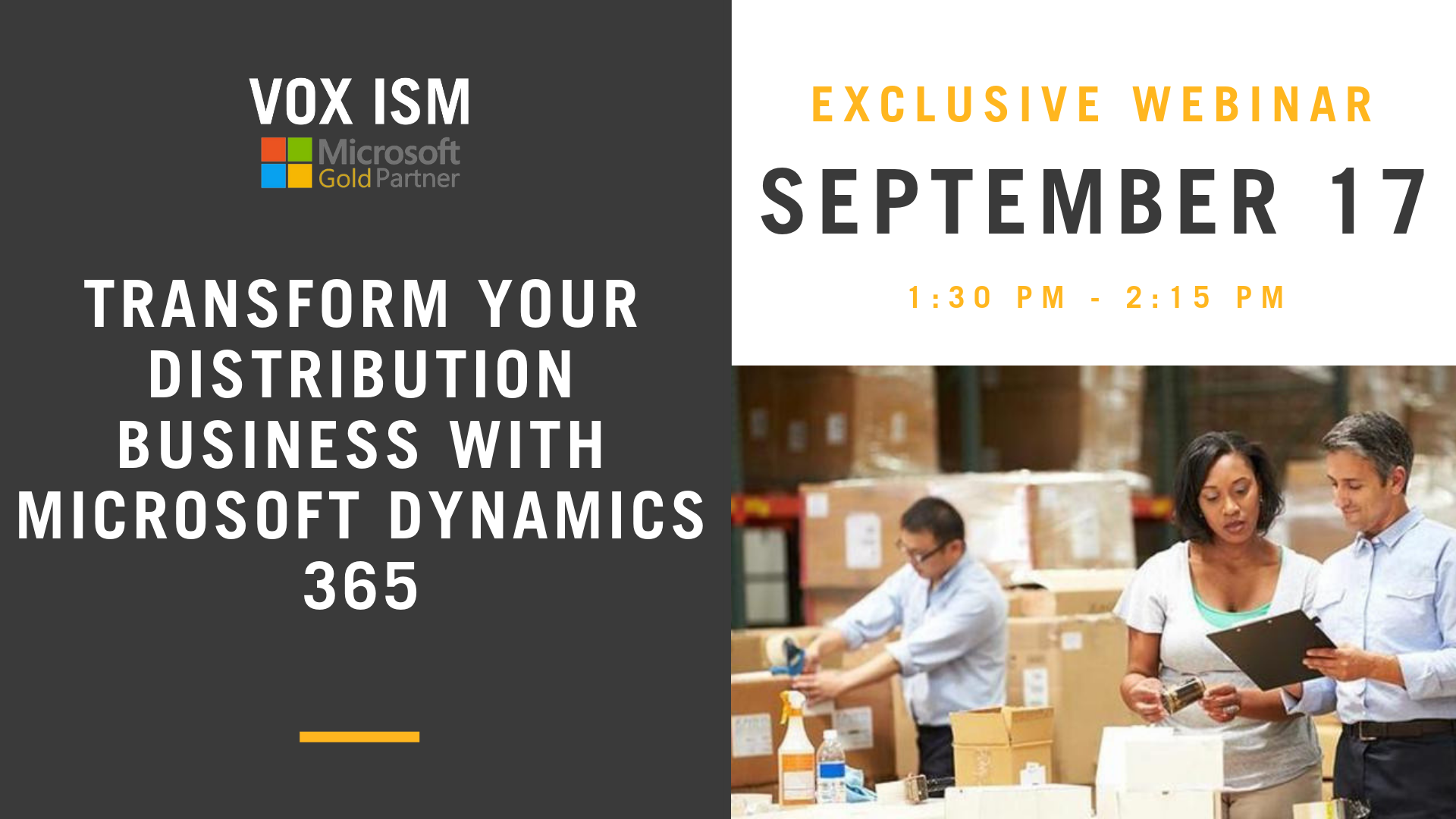 Transform your distribution business with Microsoft Dynamics 365 - September 17 - Webinar - VOX ISM