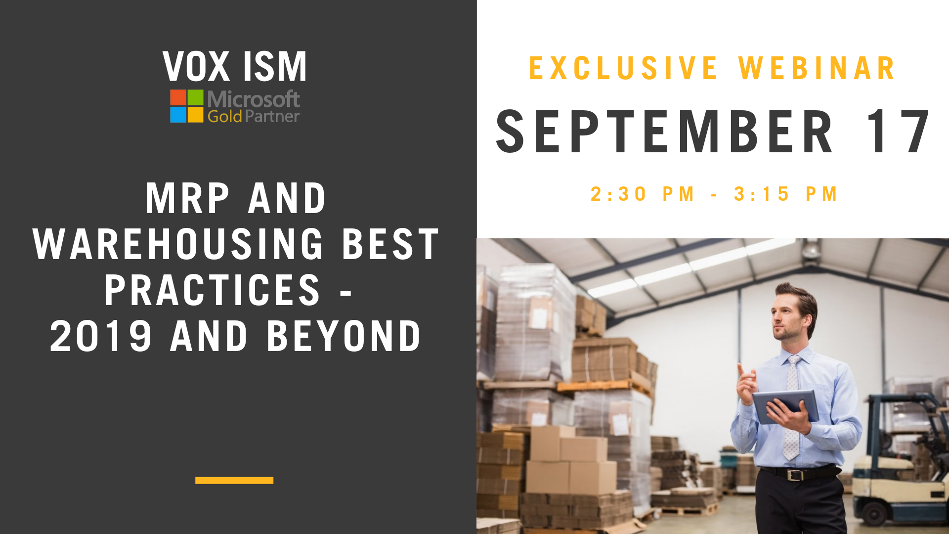 MRP and Warehousing Best Practices - 2019 and Beyond - September 17 - Webinar - VOX ISM