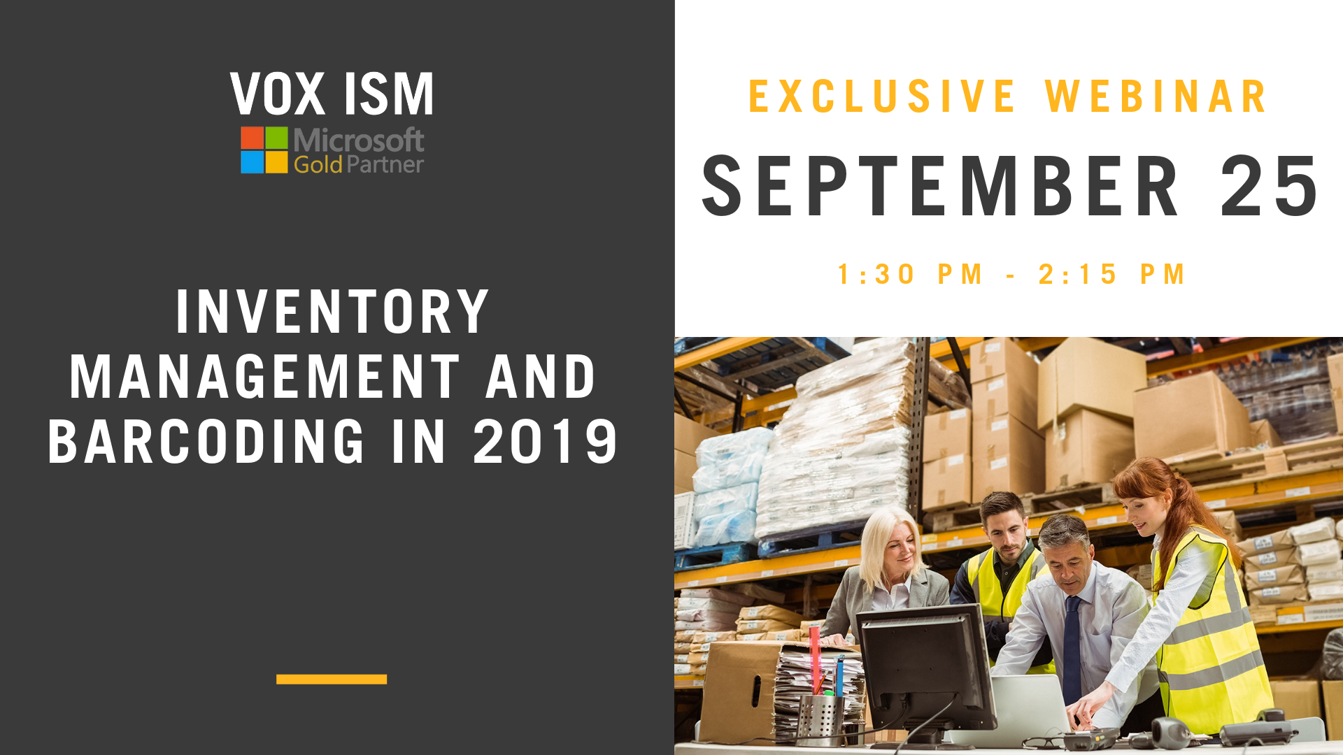Inventory Management and Barcoding in 2019 - September 25 - Webinar - VOX ISM