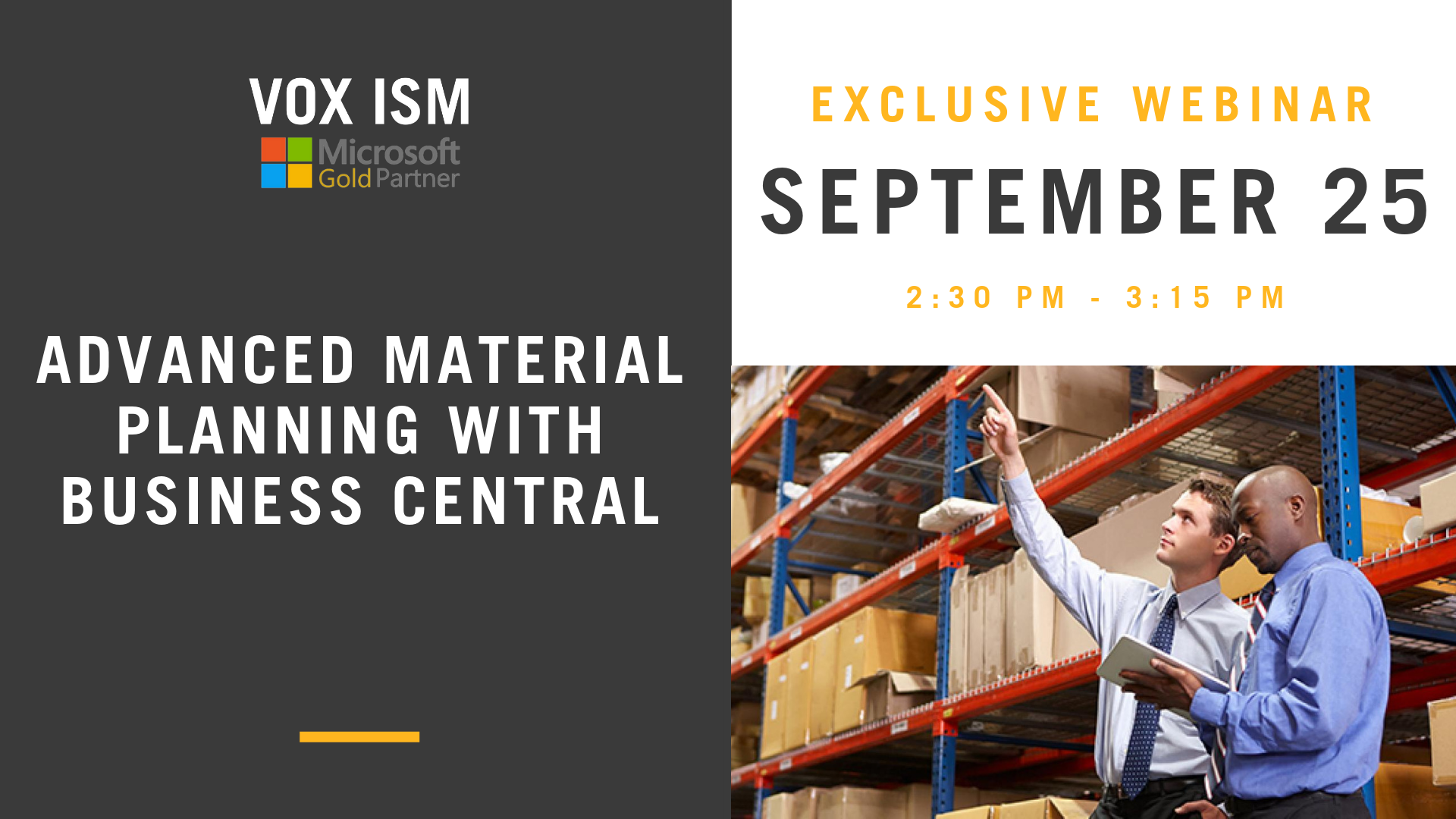 Advanced Material Planning with Business Central - September 25 - Webinar - VOX ISM