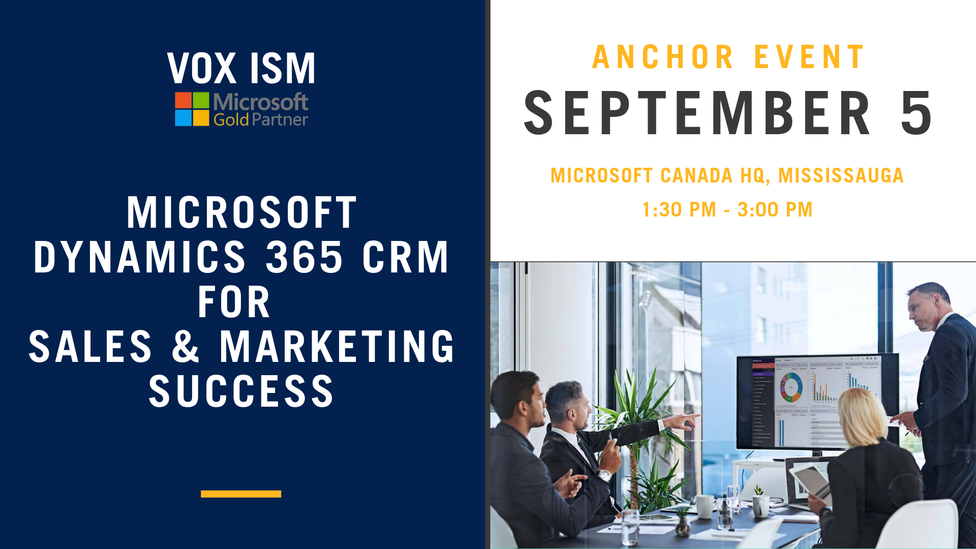 Microsoft Dynamics 365 CRM For Sales & Marketing Success - September 5 - Anchor Event - VOX ISM