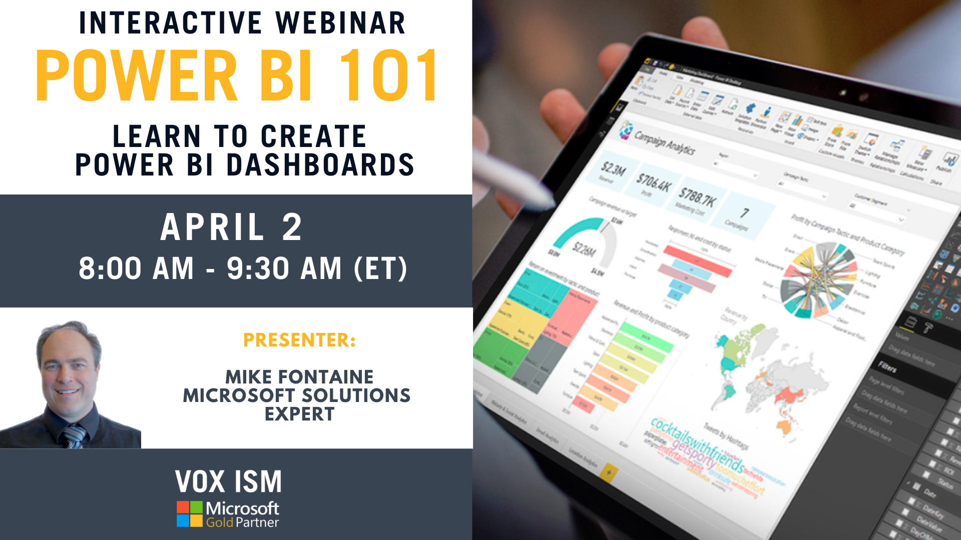 Power BI 101 - Learn to create Power BI Dashboard - April 2 - Webinar - 8 AM