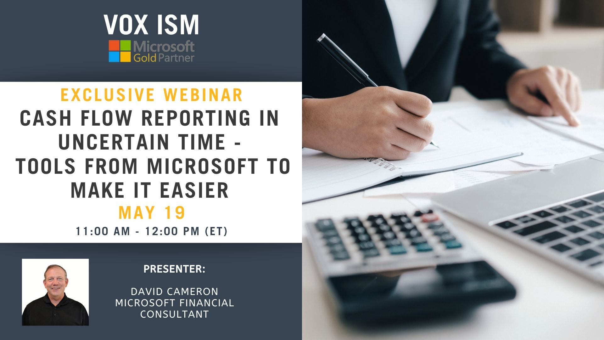 Cash Flow Reporting during Uncertain Times - Tools to Make it easier from Microsoft - May 19 - Webinar VOX ISM
