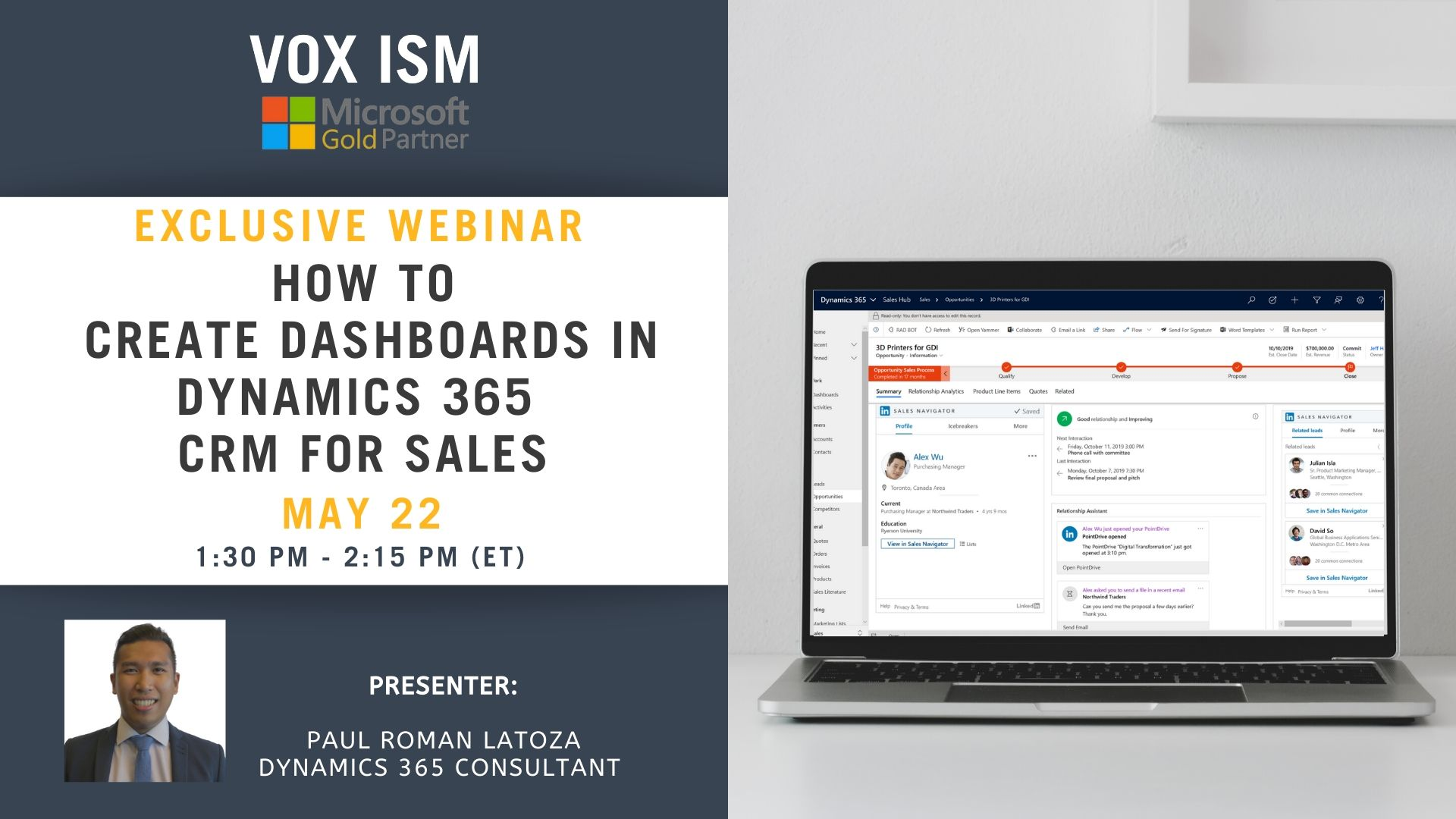 How to Create Dashboards in Dynamics 365 for Sales - May 22 - Webinar VOX ISM