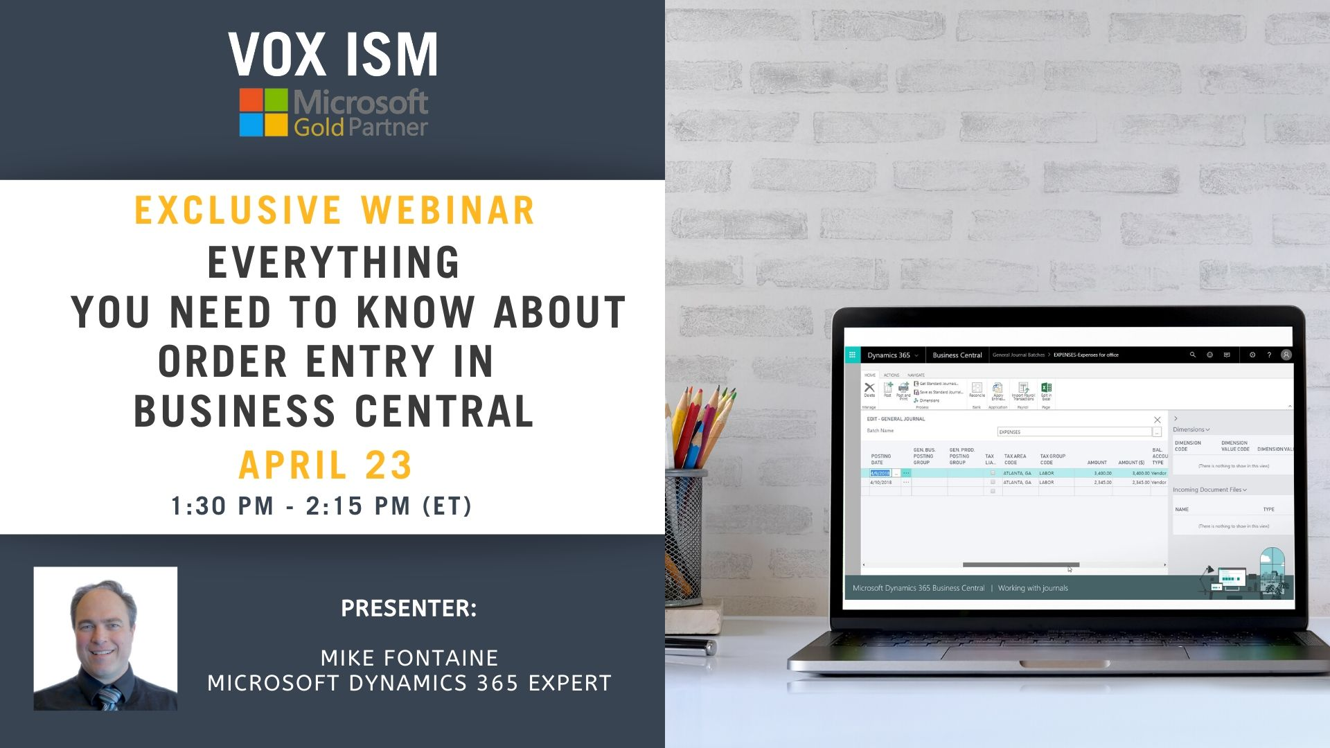 Everything You Need to Know About Order Entry in Business Central - April 23 - Webinar_VOX ISM