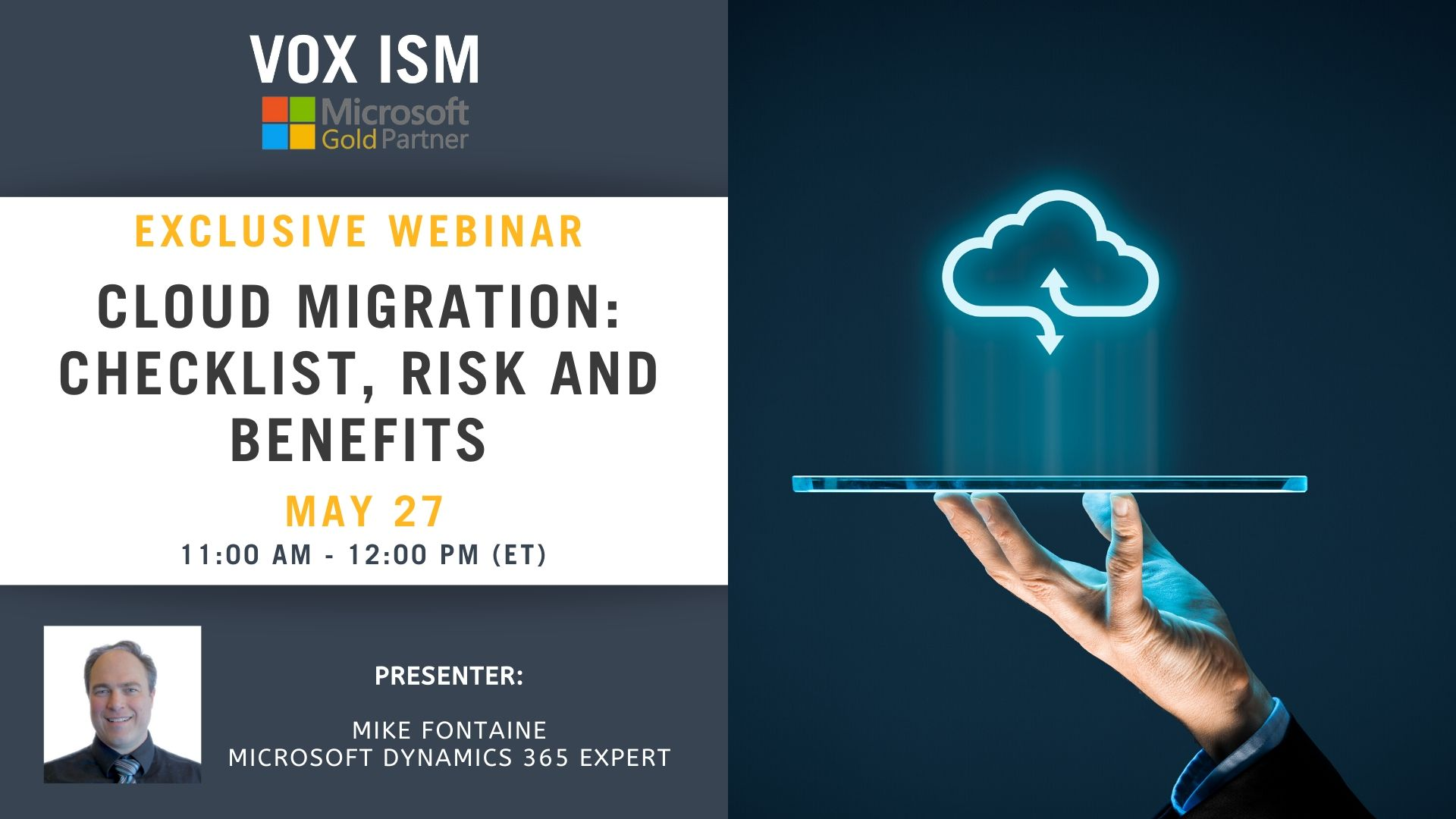 Cloud Migration: Checklist, Risk and Benefits - May 27 - Webinar VOX ISM