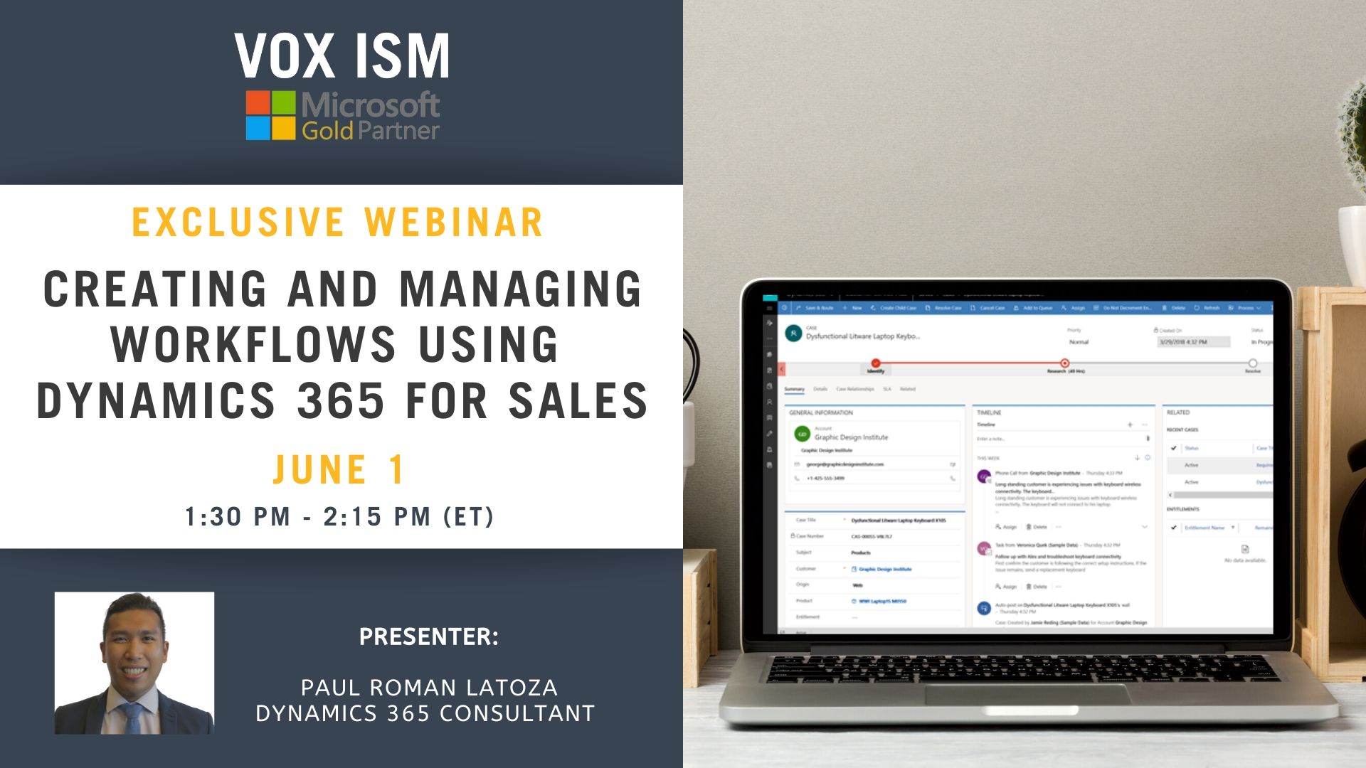 Creating and Managing Workflows using Dynamics 365 for Sales - June 1 - Webinar VOX ISM