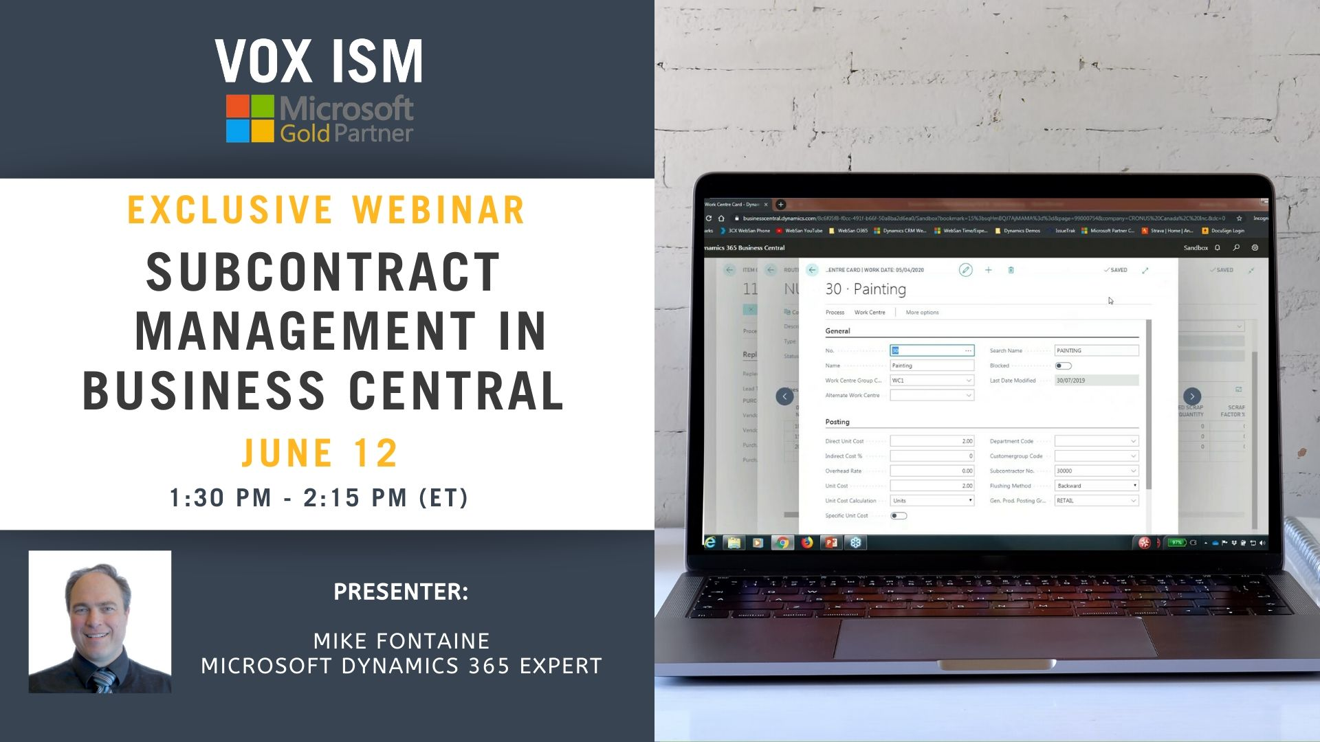Subcontract Management in Business Central - June 12 - Webinar VOX ISM