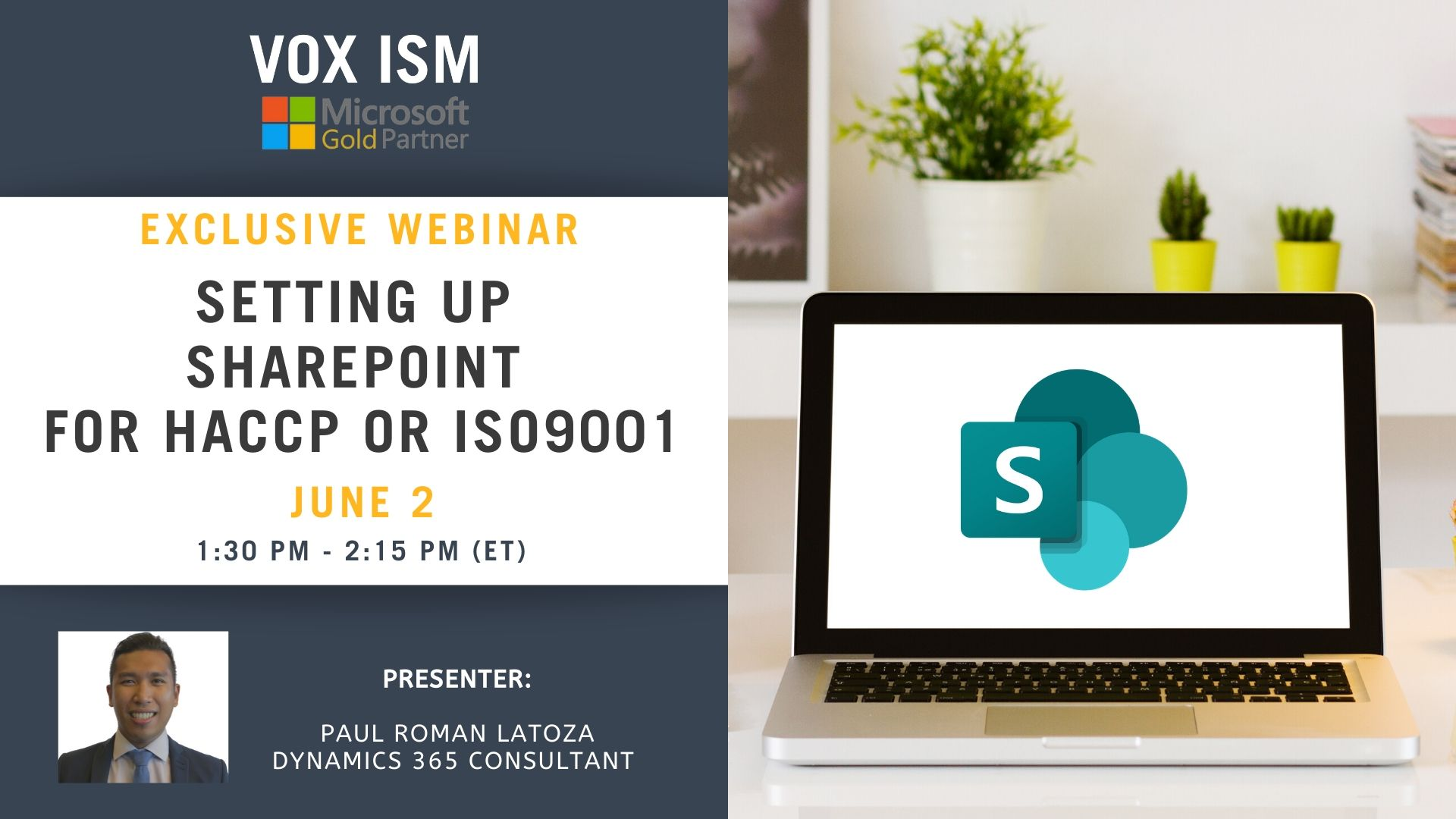 Setting up SharePoint for HACCP or ISO9001 - June 2 - Webinar VOX ISM
