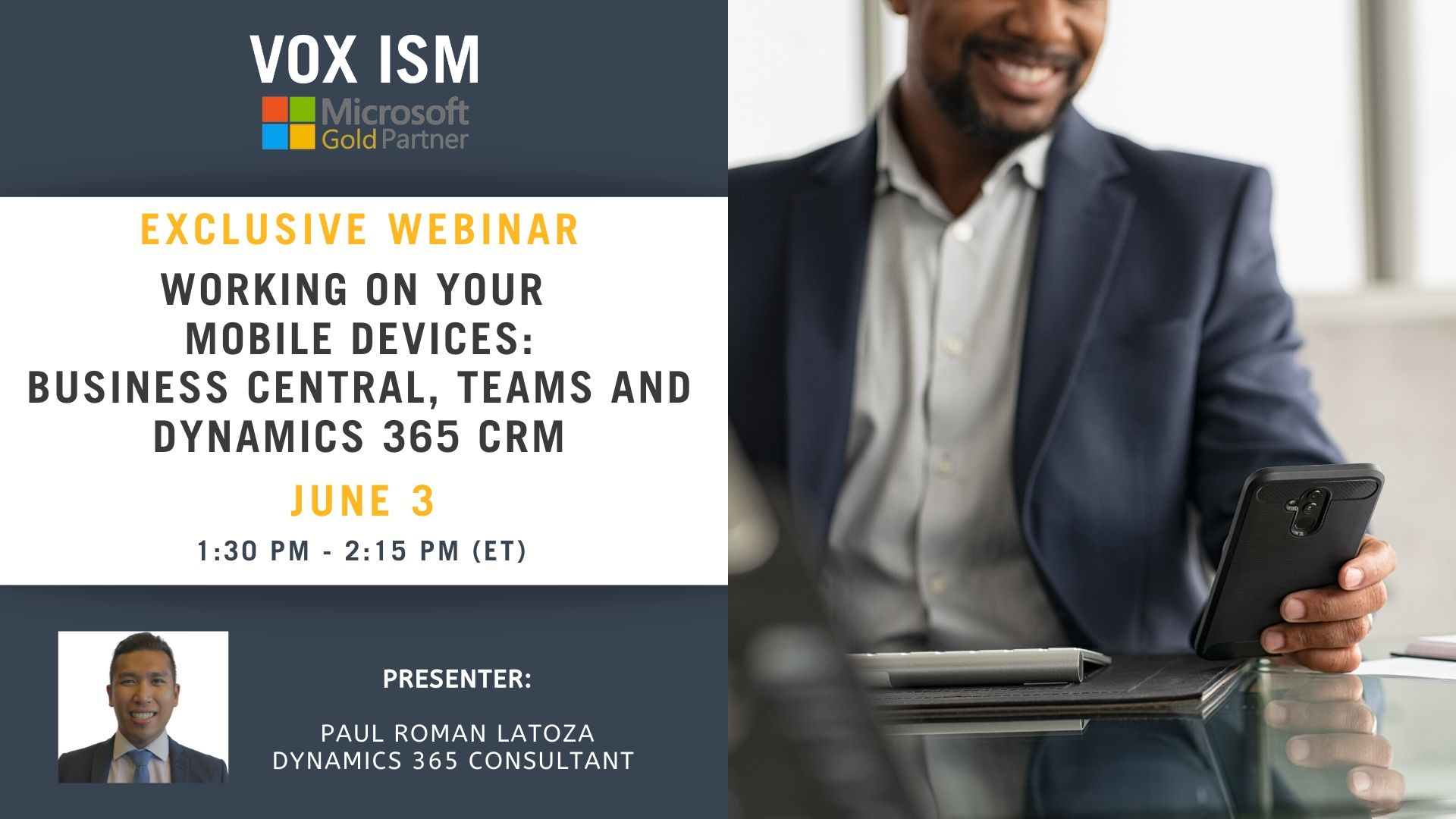 Working on your Mobile devices (Business Central, Teams, CRM) - June 3 - Webinar VOX ISM